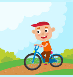 cartoon boy riding a bike having fun riding vector image