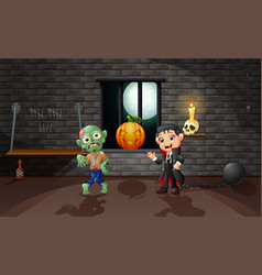 Cartoon of vampire and zombie in the house vector