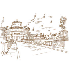 castel santangelo hand draw rome vector image