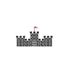 castle logo medieval tower stone building with red vector image