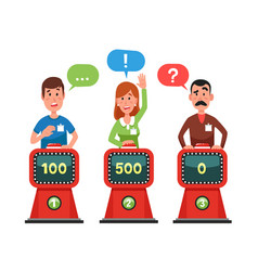Characters answer test question on intellect show vector