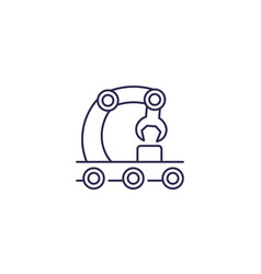 Conveyor assembly line icon vector