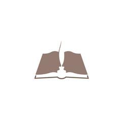 Creative abstract open book feather ink logo vector