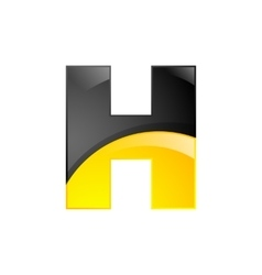 creative yellow and black symbol letter h for your vector image