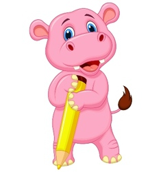 Cute hippo cartoon holding yellow pencil vector image