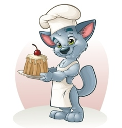 Cute kitten cook vector