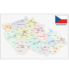 czech republic administrative and political map vector image