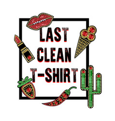 design for t-shirt with patches with sequins vector image
