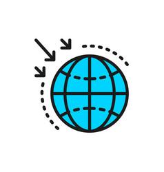Destruction ozone layer flat color line vector