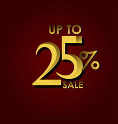 Discount sale label up to 25 red gold template vector