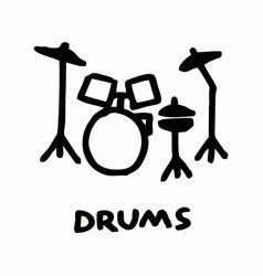 drum kit freehand vector image
