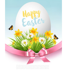 easter sale background holiday egg in green grass vector image
