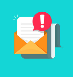 Email message with warning alert icon vector