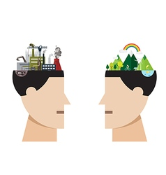 factory pollution and green city concept vector image