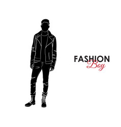 Fashionable guy fashion silhouette of a guy vector