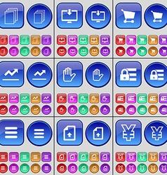 Files Monitor Shopping cart Graph Hand Lock Apps vector