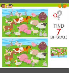 Find differences game with farm animals group vector