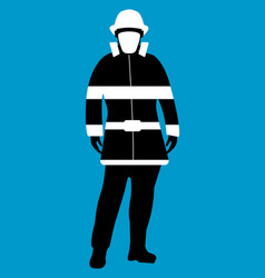 Fireman flat icon service 911 silhouette vector
