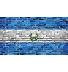 Flag of el salvador on a brick wall vector