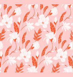 floral mixed media seamless pattern botanical vector image
