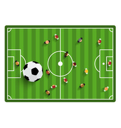 football - soccer top view field with players and vector image