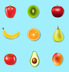 fresh fruits and colorful background vector image
