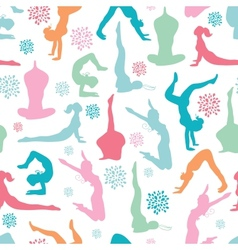 Fun workout fitness girls seamless pattern vector