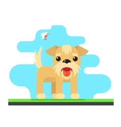 Funny Dog Bird Sky Background Concept Flat Design vector image