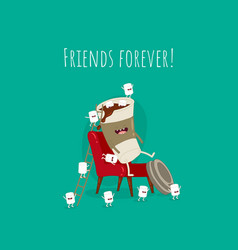 funny paper coffee with marshmallows on red vector image