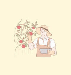Gardener harvesting apples concept vector