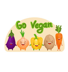 go vegan cute vegetables set vector image