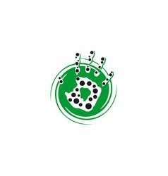 hand circle logo vector image