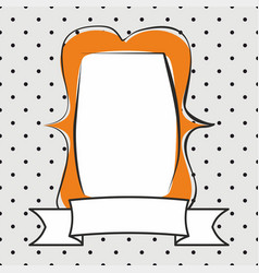 hand drawn decorative orange frame on polka dots vector image