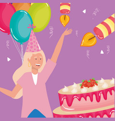 happy birthday woman with strawberries cake cream vector image