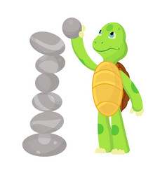 happy young cartoon turtle playing with stone vector image
