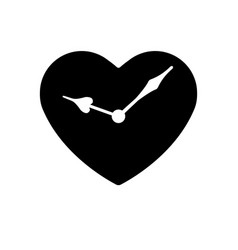 heart black icon hands clock in heart vector image