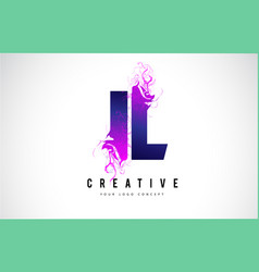 Il i l purple letter logo design with liquid vector