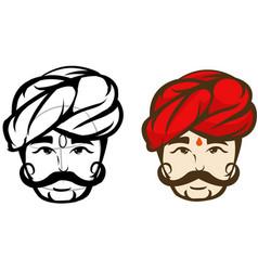 india headman colored mascot logo premium vector image