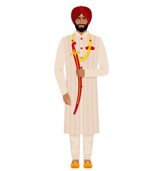indian groom in traditional costume vector image