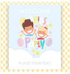 Kids party invitation design template with happy vector