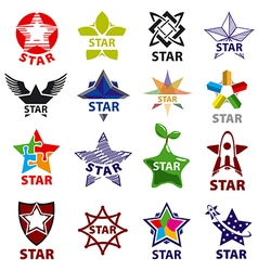 Large set logos star vector