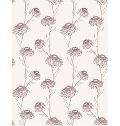 Linear flower seamless pattern vector