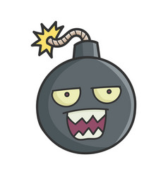 Mad angry cartoon bomb with burning wick vector