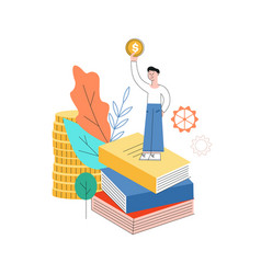 man standing at book pile with golden coin vector image