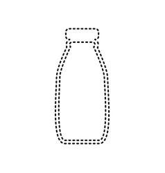 Milk bottle sign black dashed icon on vector