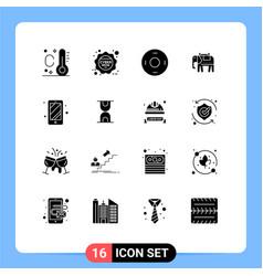 Modern set 16 solid glyphs pictograph hour vector