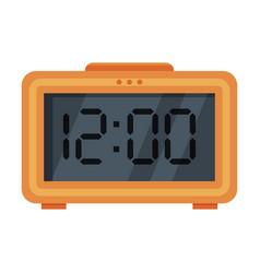 Orange digital table alarm clock modern vector
