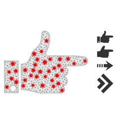 Polygonal network hand pointer right pictograph vector