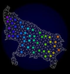 Polygonal wire frame mesh map of uttar pradesh vector