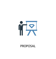 proposal concept 2 colored icon simple blue vector image